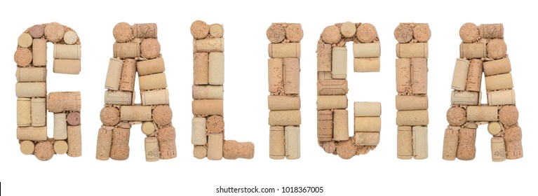 Wine region of Spain Galicia made of wine corks Isolated on white background