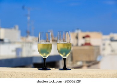 wine served on luxury balcony in Malta, Europe