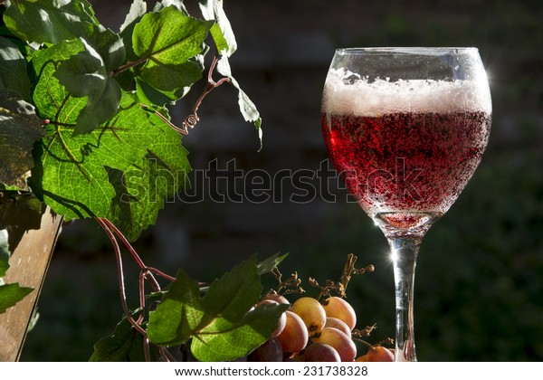 Wine sparkles in the late afternoon sun/Sparkling Red Wine?Grapes and leaves surround a glass of sparkling red wine in a glass.