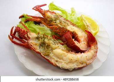 Wine steamed spiny lobster