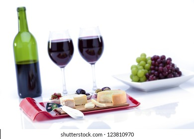 wine tasting and cheese on white background