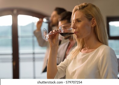 Wine tasting event with people degustating wines