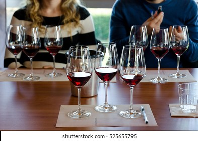 Wine tasting experience in Langhe (Italy) with three glasses of Nebbiolo on a table