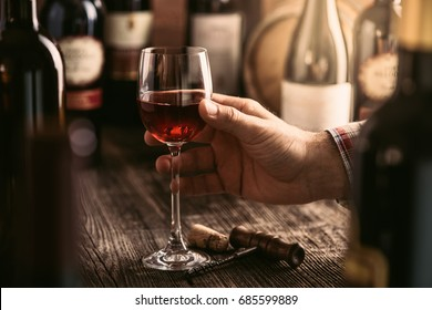 Wine tasting experience in the rustic cellar and wine bar: sommelier holding a glass of delicious red wine and excellent wine bottles collection on the background