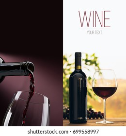 Wine tasting and winemaking poster set: wine pouring into a glass, wine bottle, wineglass and vineyard