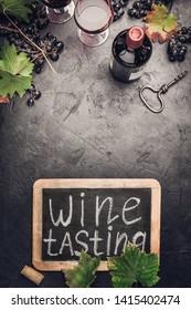 Wine testing concept on dark background