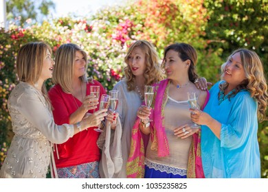 wine toast of group of female friends