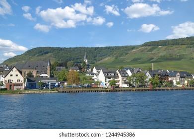 Wine Village of Ellenz-Poltersdorf at Mosel River,Rhineland-Palatinate,Germany