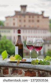 wine, vineyards and castle of Barolo