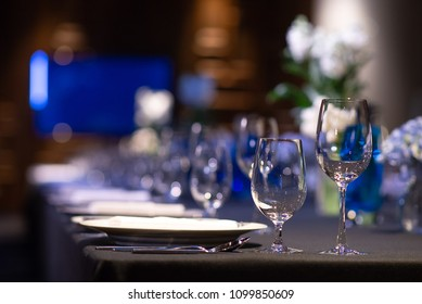wine and water glasses on dining table