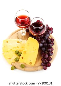 Wine in wineglasses and cheese isolated on white