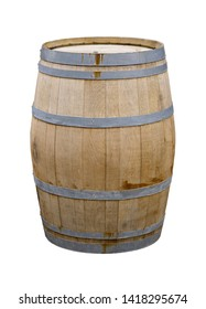 wine wooden barrel on a white background