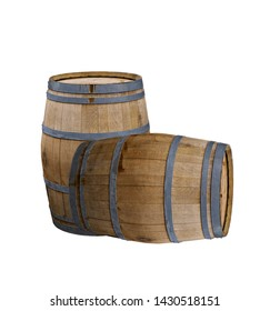 wine wooden barrel on a white background.