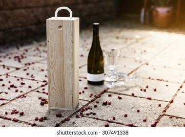 Wine wooden box on natural background. Outdoor image, selective focus, shallow depth of field