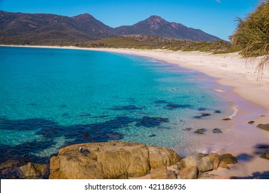 Wineglass Bay: The beautiful beach Wineglass Bay on the east coast of Tasmania has crysal clear water.
