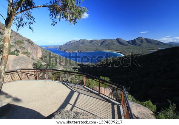 wineglass bay lookout near coles bay, tasmania