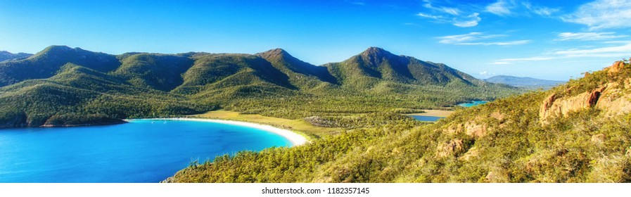 Wineglass Bay on the Freycinet Peninsula in North East Tasmania on a clear sunny day.