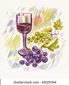 Wineglass and bunch of grapes. Watercolor. Art winemaking background.