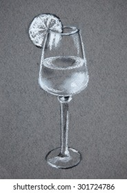 Wineglass with lemon slice in black and white. Original pastel painting on paper