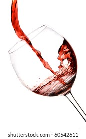 wineglass pouring red wine