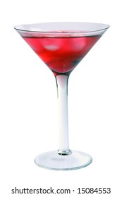 Wine-glass with a red drink and an ice