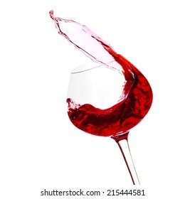 Wineglass with red wine, isolated on white