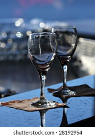 Wineglasses on a bar