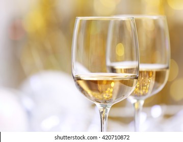 Wineglasses on blurred background