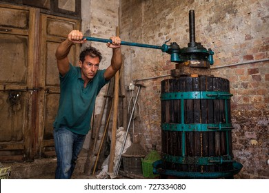 Winemaker farmer working on a traditional wine press