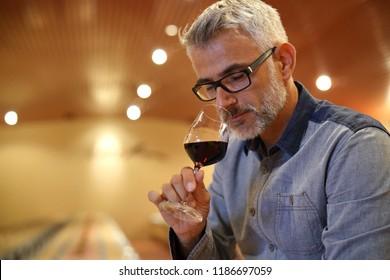 Winemaker tasting red wine in cellar
