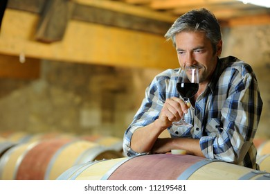 Winemaker tasting red wine in winery