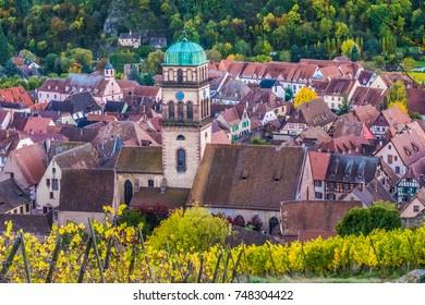 The wine-making village of Kaysersberg, Kaysersberg-Vignoble, Haut-Rhin, Alsace, France