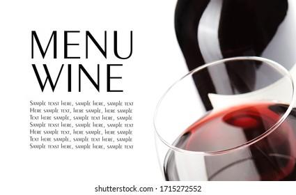 Projekt Weinkarte. Nahaufnahme auf Glas Wein, Flasche im Hintergrund. Platz für Text einzeln auf Weiß.