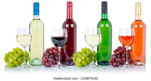 Wines collection bottle glass alcohol beverage grapes isolated on a white background