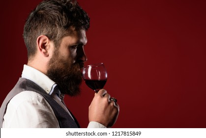 Winetasting and degustation concept. Sommelier tasting red wine. Handsome businessman is drinking red wine with enjoyment. Man in waistcoat holds glass of red wine. Bearded man tasting glass of wine.