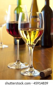 winetasting scene with two glasses of wine
