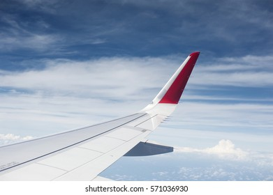 Wing aircraft on sky