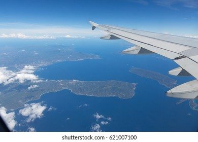 Wing aircraft on the sky above the Philippines earth and sky and clouds
