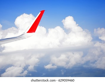 Wing Airplane On The Sky Nature Background