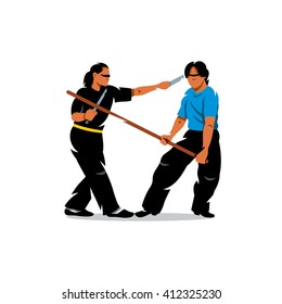 Wing Chun kung fu sparring Cartoon Illustration. Two people work out fighting skills in tandem with each other. Butterfly swords against wooden sticks. Branding Identity Corporate unusual Logo