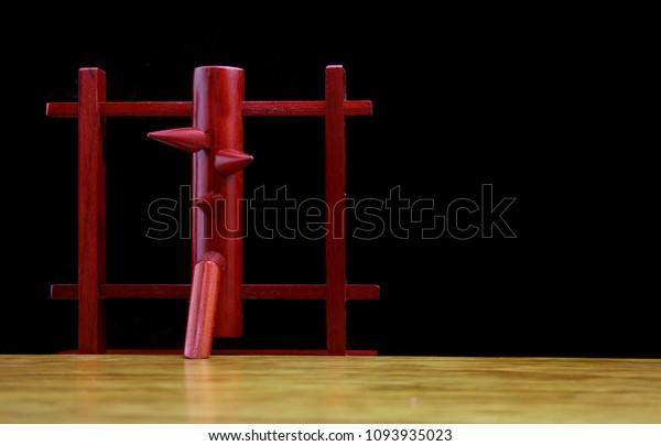 Wing Chun Wooden Dummy Wood Floor Stock Photo (Edit Now