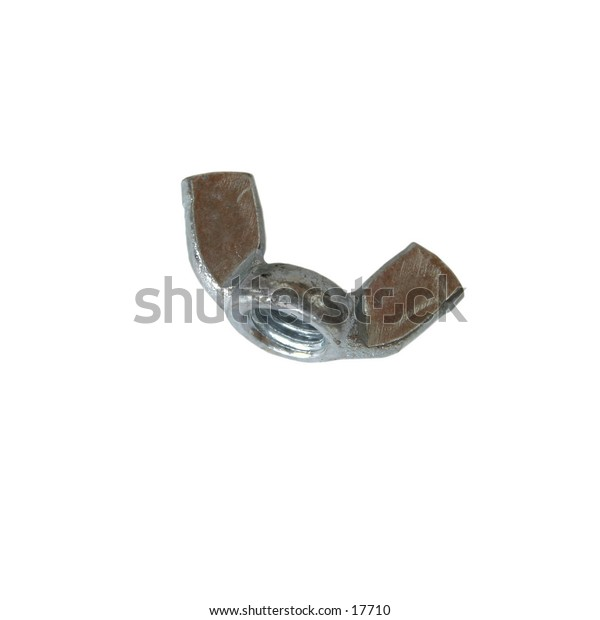 A wing nut isolated on white with clipping path.