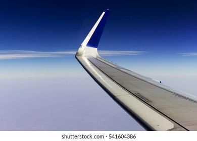 Wing view from the window of Airbus aircraft