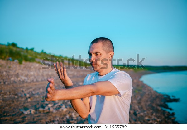Wingchun Kungfu Young Guy Fighting Techniques Stock Photo