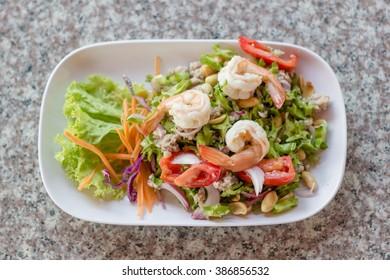 Winged Bean Salad on marble table