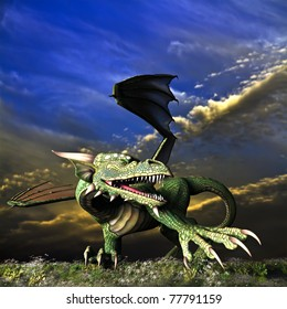 Winged Dragon in action showing teeth and claws. Background a dramatic sunrise sunset sky. Landscape of wildflowers and grass. Illustration