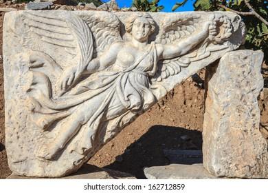 Winged goddess nike at ephesus, kusadasi, turkey