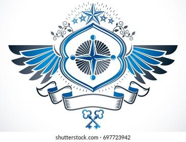Winged heraldic Coat of Arms, vintage emblem created using ancient keys and pentagonal stars