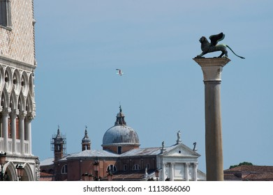the winged Lion of San Marco , Venetian symbol , Venice, Italy