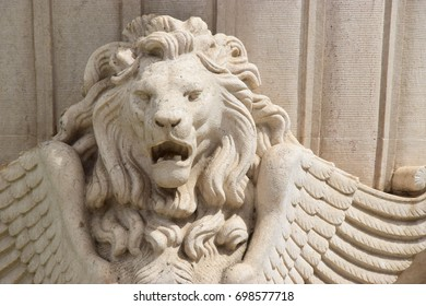Winged lion of stone